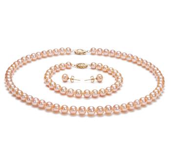 Rosa 6-7mm Calidad AA Conjunto de Perlas de Agua Dulce y Lleno de oro
