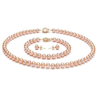 Rosa 6-7mm Calidad AAA Conjunto de Perlas de Agua Dulce y Lleno de oro