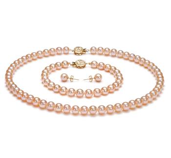 Rosa 6-6.5mm Calidad AAAA Conjunto de Perlas de Agua Dulce y Lleno de oro