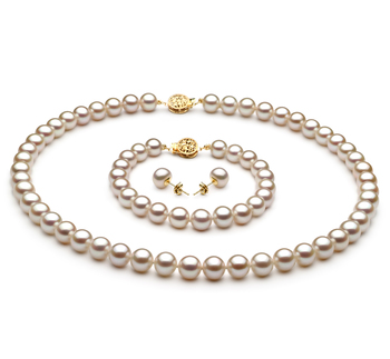 Blanco 7-8mm Calidad AAA Conjunto de Perlas de Agua Dulce y Lleno de oro