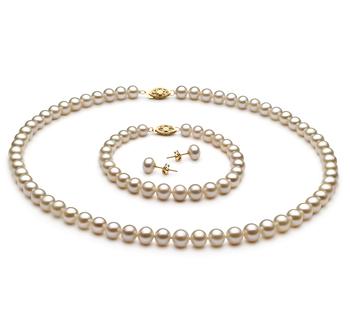 Blanco 6-7mm Calidad AA Conjunto de Perlas de Agua Dulce