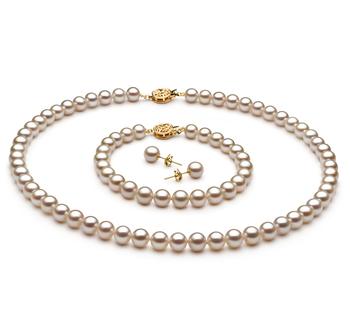 Blanco 6-7mm Calidad AAAA Conjunto de Perlas de Agua Dulce y Lleno de oro