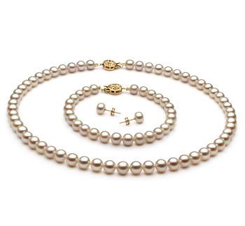 Blanco 6-7mm Calidad AAA Conjunto de Perlas de Agua Dulce y Lleno de oro
