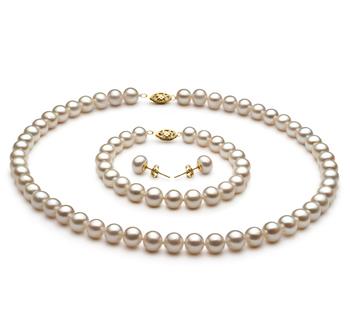 Blanco 7.5-8.5mm Calidad AA Conjunto de Perlas de Agua Dulce