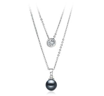 Ramona Negro 7-8mm Calidad AAAA Collar de Perlas de Agua Dulce y Plata esterlina 925