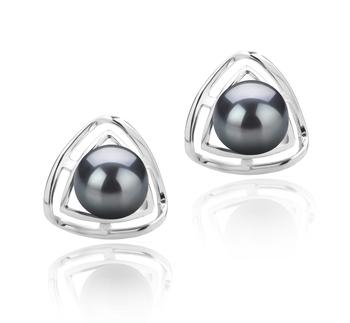 Serbal Negro 6-7mm Calidad AAAA Pendientes de Perlas de Agua Dulce y Plata esterlina 925