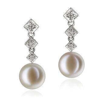 Rozene Blanco 9-10mm Calidad AAAA Pendientes de Perlas de Agua Dulce y Oro blanco 14K