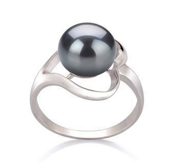 Sadie Negro 9-10mm Calidad AA Anillo de Perla de Agua Dulce y Plata esterlina 925