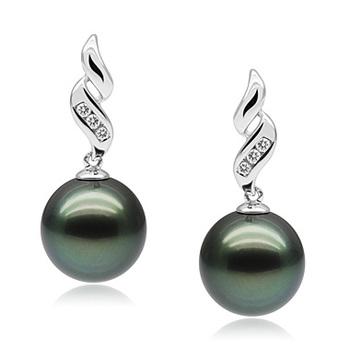 Perla negra Seductora Negro 9-10mm Calidad AAA Pendientes de Perlas Tahití y Oro blanco 10K