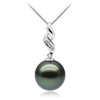 Perla negra Seductora Negro 10-10.5mm Calidad AAA Colgante de Perla Tahití y Oro blanco 10K