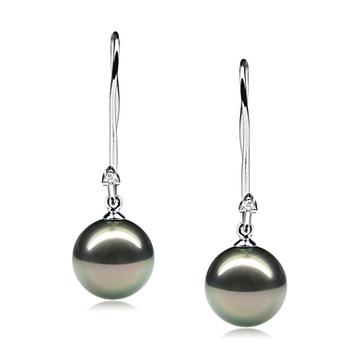 Largos de perlas negras Simplicity Negro 9-10mm Calidad AAA Pendientes de Perlas Tahití y Oro blanco 14K