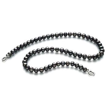 Sinead Negro 8-9mm Calidad A Collar de Perlas de Agua Dulce y Plata esterlina 925