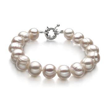Sencilla Blanco 10-11mm Calidad A Pulsera de Perlas de Agua Dulce