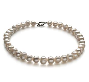 Sencillo Blanco 10-11mm Calidad A Collar de Perlas de Agua Dulce