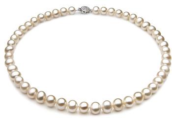 Sencillo Blanco 7-8mm Calidad A Collar de Perlas de Agua Dulce y Plata esterlina 925