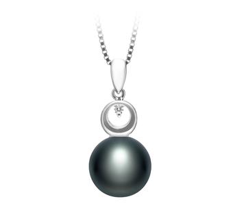 Sonia Negro 9-10mm Calidad AA Colgante de Perla de Agua Dulce y Plata esterlina 925
