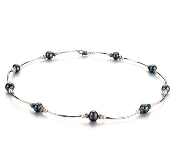 Sophia Negro y Blanco 5-7mm Calidad A Collar de Perlas de Agua Dulce
