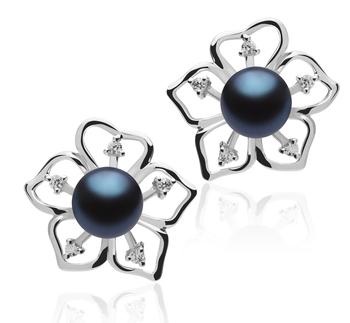 Girasol Negro 7-8mm Calidad AAAA Pendientes de Perlas de Agua Dulce y Plata esterlina 925