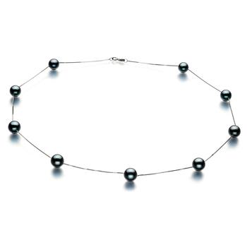 Tin Cup Negro 7-8mm Calidad AAA Collar de Perlas Akoya Japonesa y Oro blanco 14K