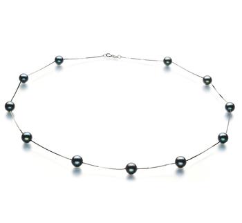 Tin Cup Negro 6-7mm Calidad AA Collar de Perlas Akoya Japonesa y Oro blanco 14K