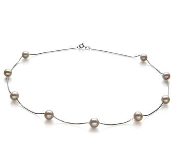 Tin Cup Blanco 7-8mm Calidad AA Collar de Perlas de Agua Dulce y Plata esterlina 925