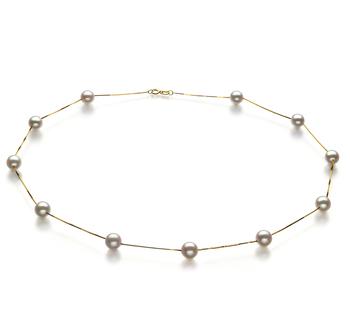 Tin Cup Blanco 6-7mm Calidad AA Collar de Perlas Akoya Japonesa y Oro amarillo 14K