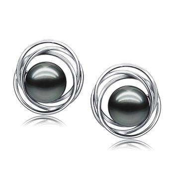Pendientes de perlas Triple Círculo Negro 9-10mm Calidad AAA Pendientes de Perlas Tahití y Oro blanco 14K