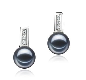 Valery Negro 7-8mm Calidad AAAA Pendientes de Perlas de Agua Dulce y Plata esterlina 925