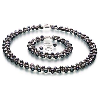 Weave Negro 6-7mm Calidad A Conjunto de Perlas de Agua Dulce