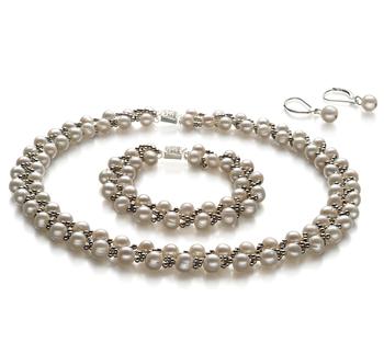 Weave Blanco 6-7mm Calidad A Conjunto de Perlas de Agua Dulce