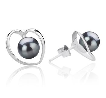 Winna-corazón Negro 6-7mm Calidad AAAA Pendientes de Perlas de Agua Dulce y Plata esterlina 925
