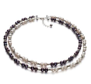 YinYang Negro y Blanco 6-7mm Calidad A Collar de Perlas de Agua Dulce y Plata esterlina 925
