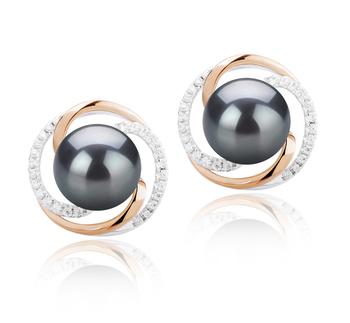 Zina Negro 8-9mm Calidad AAAA Pendientes de Perlas de Agua Dulce y Plata esterlina 925