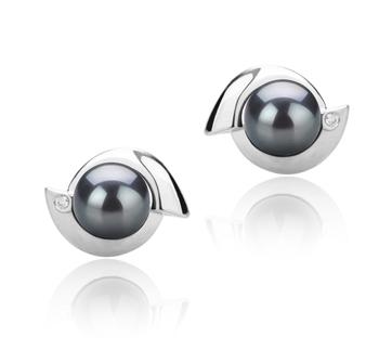 Zorina Negro 6-7mm Calidad AAAA Pendientes de Perlas de Agua Dulce y Plata esterlina 925